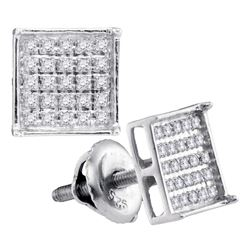 0.15 CTW Diamond Square Cluster Stud Earrings 10KT White Gold - REF-8W9K