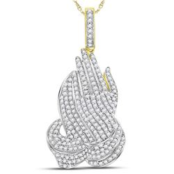 1.56 CTW Mens Diamond Praying Hands Charm Pendant 10KT Yellow Gold - REF-101N9F