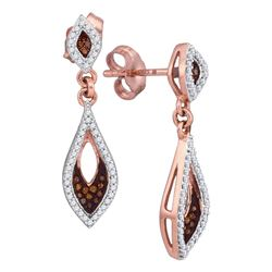 0.30 CTW Red Color Diamond Dangle Earrings 10KT Rose Gold - REF-30M2H