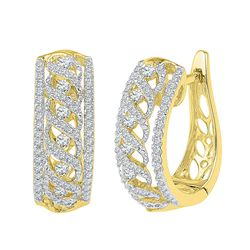 0.75 CTW Diamond Crisscrossed Openwork Hoop Earrings 10KT Yellow Gold - REF-59K9W