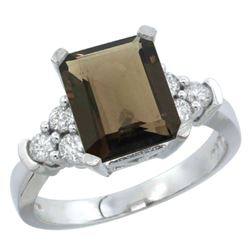 Natural 2.86 ctw smoky-topaz & Diamond Engagement Ring 14K White Gold - REF-65W2K