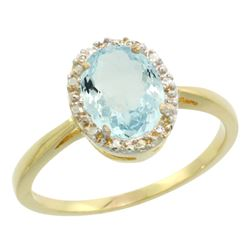 Natural 1.05 ctw Aquamarine & Diamond Engagement Ring 14K Yellow Gold - REF-30F2N