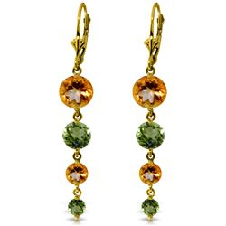 Genuine 7.8 ctw Citrine & Peridot Earrings Jewelry 14KT Yellow Gold - REF-46Y3F