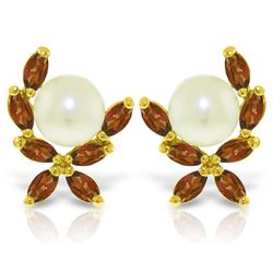 Genuine 3.25 ctw Pearl & Garnet Earrings Jewelry 14KT Yellow Gold - REF-30H2X