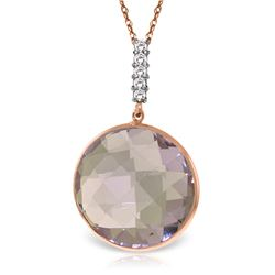 Genuine 18.08 ctw Amethyst & Diamond Necklace Jewelry 14KT Rose Gold - REF-65N8R