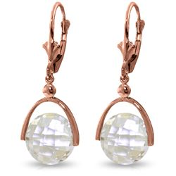 Genuine 7.5 ctw White Topaz Earrings Jewelry 14KT Rose Gold - REF-43Z2N