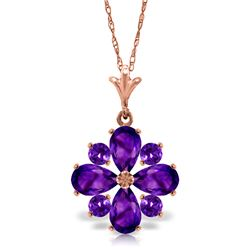Genuine 2.43 ctw Amethyst Necklace Jewelry 14KT Rose Gold - REF-29F7Z