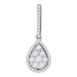 0.75 CTW Diamond Teardrop Pendant 10KT Yellow Gold - REF-52M4H