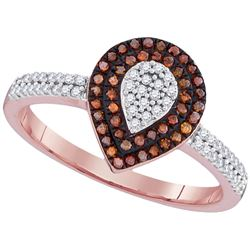 0.33 CTW Red Color Diamond Teardrop Cluster Ring 10KT Rose Gold - REF-34Y4X