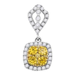 0.89 CTW Yellow Diamond Square Cluster Pendant 14KT White Gold - REF-89M9H