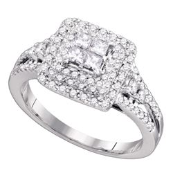 0.76 CTW Princess Diamond Invisible-set Bridal Engagement Ring 14k White Gold - REF-89X9Y