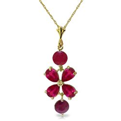 Genuine 3.15 ctw Ruby Necklace Jewelry 14KT Yellow Gold - REF-38V6W