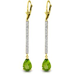 Genuine 3.6 ctw Peridot & Diamond Earrings Jewelry 14KT Yellow Gold - REF-50H9X