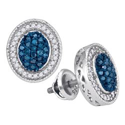 0.50 CTW Blue Color Diamond Oval Cluster Earrings 10KT White Gold - REF-34M4H