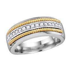 0.37 CTW Mens Pave-set Diamond Yellow-tone Rope Wedding Ring 10KT White Gold - REF-48X7Y