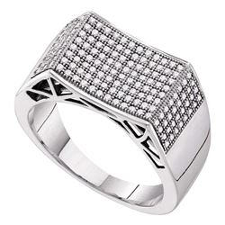 0.50 CTW Mens Pave-set Diamond Rectangle Concave Cluster Ring 10KT White Gold - REF-52N4F