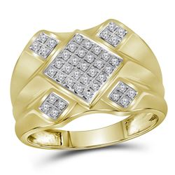 0.33 CTW Mens Diamond Diagonal Square Cluster Ring 10KT Yellow Gold - REF-37W5K
