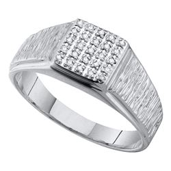 0.12 CTW Mens Diamond Square Cluster Brushed Ring 10KT White Gold - REF-19W4K