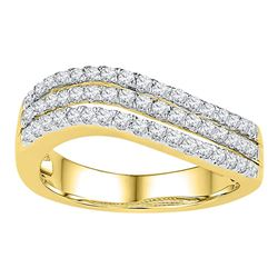 0.50 CTW Diamond Triple Row Ring 10KT Yellow Gold - REF-52X4Y