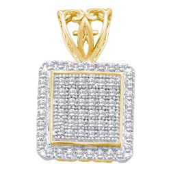 0.20 CTW Diamond Square Cluster Pendant 10KT Yellow Gold - REF-19N4F