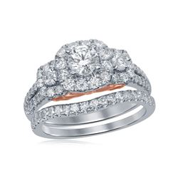 1.5 CTW Diamond Bellissimo Bridal Engagement Ring 14KT Two-tone Gold - REF-210N2F