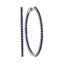 2.88 CTW Blue Sapphire Large Slender In/Out Hoop Earrings 14KT White Gold - REF-97X4Y
