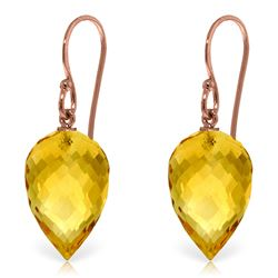Genuine 19 ctw Citrine Earrings Jewelry 14KT Rose Gold - REF-28X4M