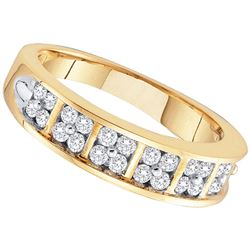 0.50 CTW Diamond Double Row Ring 14KT Yellow Gold - REF-57W2K