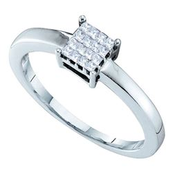 0.13 CTW Princess Diamond Square Cluster Ring 14KT White Gold - REF-22W4K