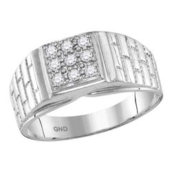 0.25 CTW Mens Diamond Square Cluster Brick Ring 10KT White Gold - REF-33M8H