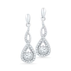 0.50 CTW Diamond Solitaire Teardrop Dangle Earrings 10KT White Gold - REF-52N4F