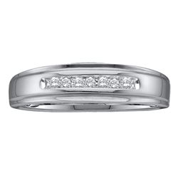 0.08 CTW Mens Diamond Channel-set Anniversary Ring 14KT White Gold - REF-20F9N