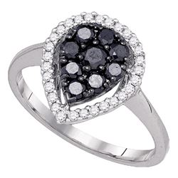 0.74 CTW Black Color Diamond Cluster Ring 10KT White Gold - REF-41W9K