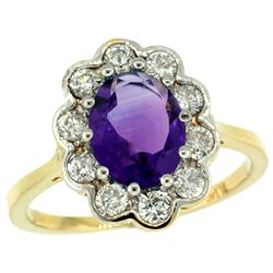 Natural 2.34 ctw Amethyst & Diamond Engagement Ring 14K Yellow Gold - REF-81K4R
