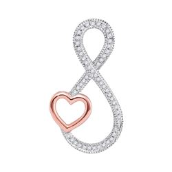 0.15 CTW Diamond Infinity Rose-tone Heart Pendant 10KT White Gold - REF-20K9W