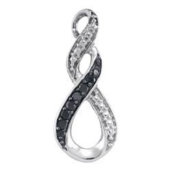 0.08 CTW Black Color Diamond Vertical Infinity Pendant 10KT White Gold - REF-7X4Y