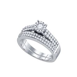0.63 CTW Diamond Bridal Wedding Engagement Ring 14KT White Gold - REF-71N9F