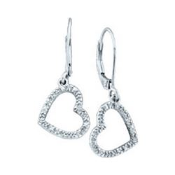 0.06 CTW Diamond Heart Love Dangle Earrings 10KT White Gold - REF-13X4Y