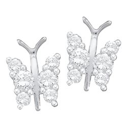 0.30 CTW Diamond Butterfly Bug Screwback Stud Earrings 14KT White Gold - REF-30W2K