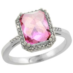 Natural 2.63 ctw Pink-topaz & Diamond Engagement Ring 14K White Gold - REF-42V8F
