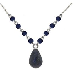 Genuine 15.8 ctw Sapphire Necklace Jewelry 14KT White Gold - REF-37V2W
