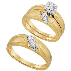 0.25 CTW His & Hers Diamond Solitaire Matching Bridal Ring 10KT Yellow Gold - REF-44Y9X