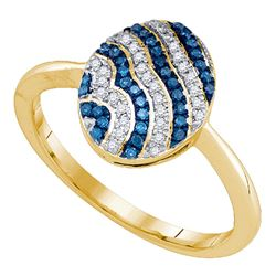 0.15 CTW Blue Color Diamond Cluster Ring 10KT Yellow Gold - REF-26W9K