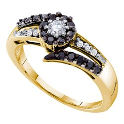 0.50 CTW Black Color Diamond Solitaire Ring 14KT Yellow Gold - REF-44X9Y