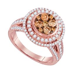 1.51 CTW Brown Diamond Cluster Bridal Engagement Ring 14KT Rose Gold - REF-157Y5X
