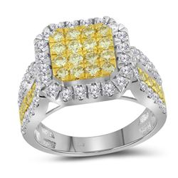 1.75 CTW Canary Yellow Diamond Square Cluster Ring 14KT White Gold - REF-142F4N