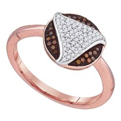 0.18 CTW Red Color Diamond Fashion Ring 10KT Rose Gold - REF-24F2N