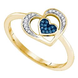 0.05 CTW Blue Color Diamond Heart Love Ring 10KT Yellow Gold - REF-12F8N