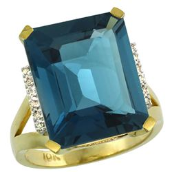 Natural 12.13 ctw London-blue-topaz & Diamond Engagement Ring 14K Yellow Gold - REF-75Z3Y