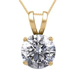 14K Yellow Gold Jewelry 0.76 ct Natural Diamond Solitaire Necklace - REF#185V6G-WJ13316